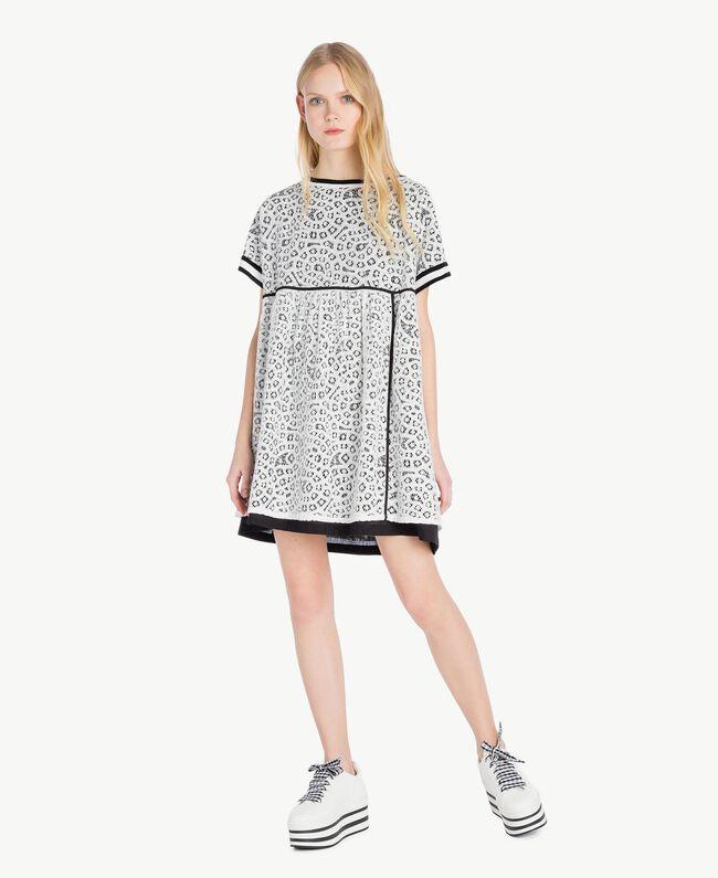 Kleid mit Spitze Optisches Weiß / Schwarz Frau YS83DA-01