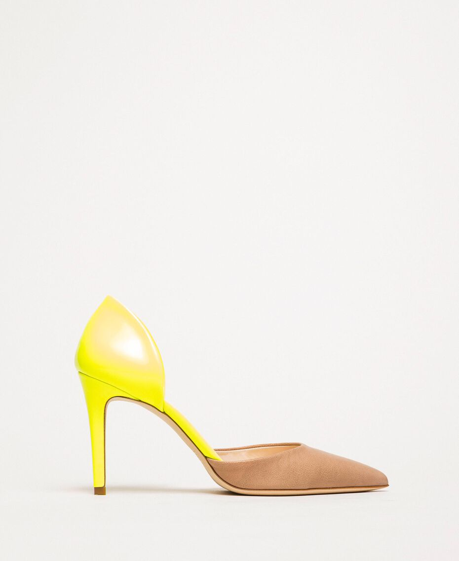 """Patent leather and leather court shoes Two-tone """"Desert"""" Beige / Fluo Yellow Woman 201TCP012-02"""