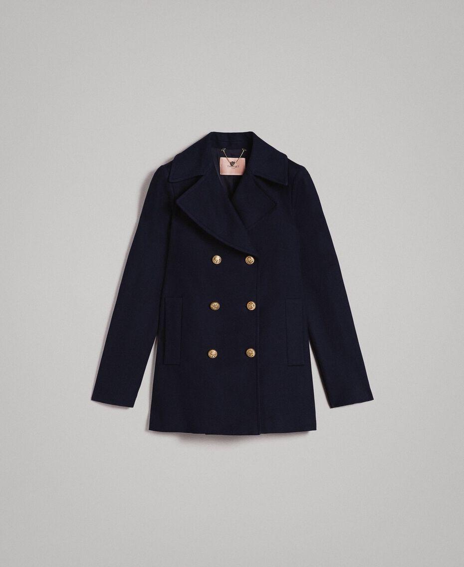 Caban en laine à double boutonnage Bleu Foncé Femme 191TP2510-0S
