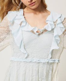 Chantilly lace dress with flounces Mousse Blue Woman 211TQ2121-05