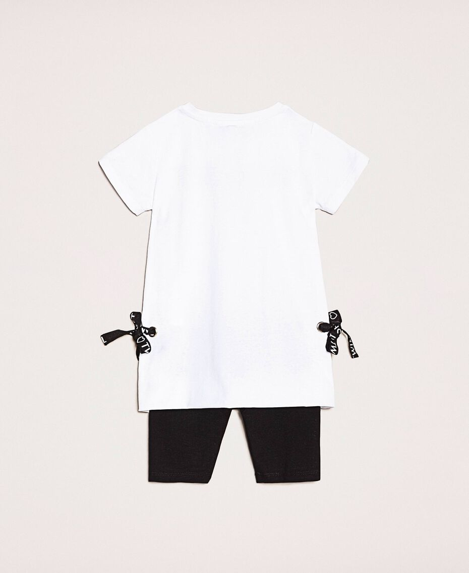 "Maxi T-shirt with logo and leggings Two-tone ""Papyrus"" White / Black Child 201GB2370-0S"