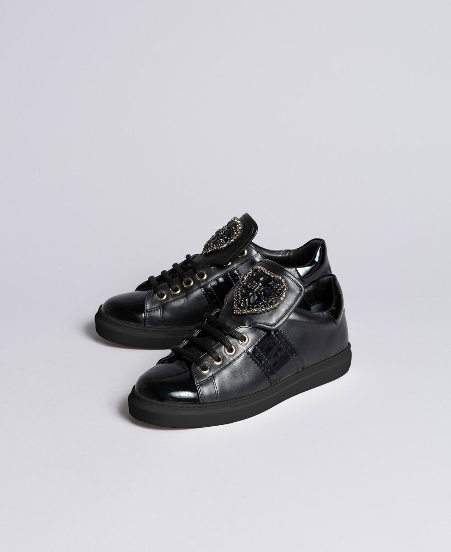 Leather sneakers with heart patch Black Woman CA8PB1-02