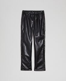 Faux leather leggings with rhinestones Black Child 192GJ2011-0S