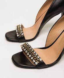 Sandales avec talon stiletto et pierres Noir Femme 201TCP090-04