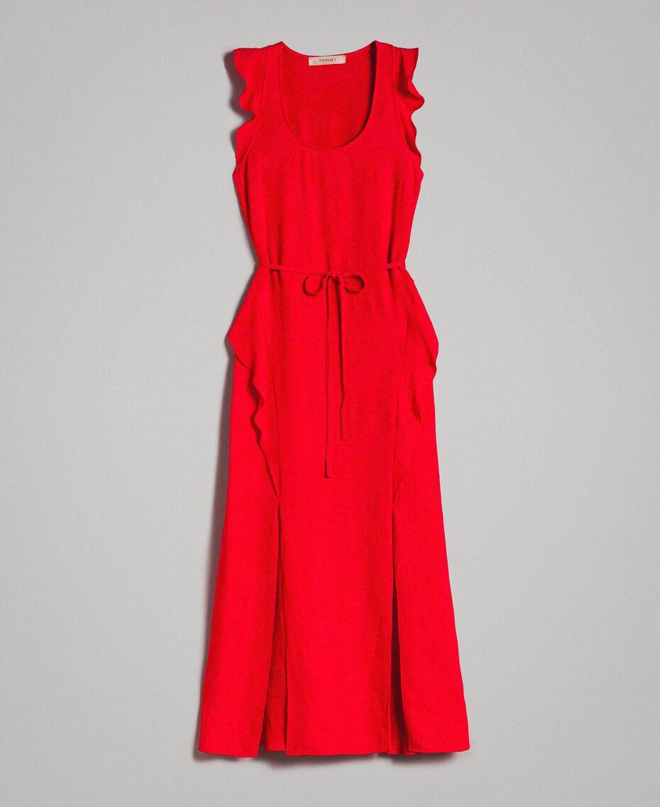 "Jacquard butterfly and flounce long dress ""Lipstick Red"" Woman 191TT2144-0S"