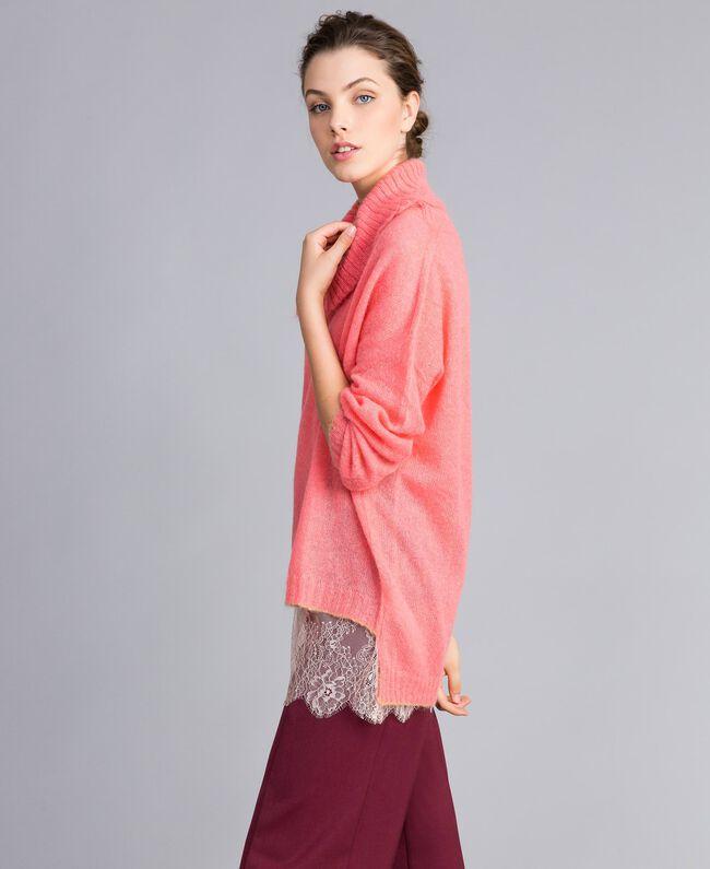 Pull en mohair avec top en dentelle Rose Royal Pink Femme PA836F-03