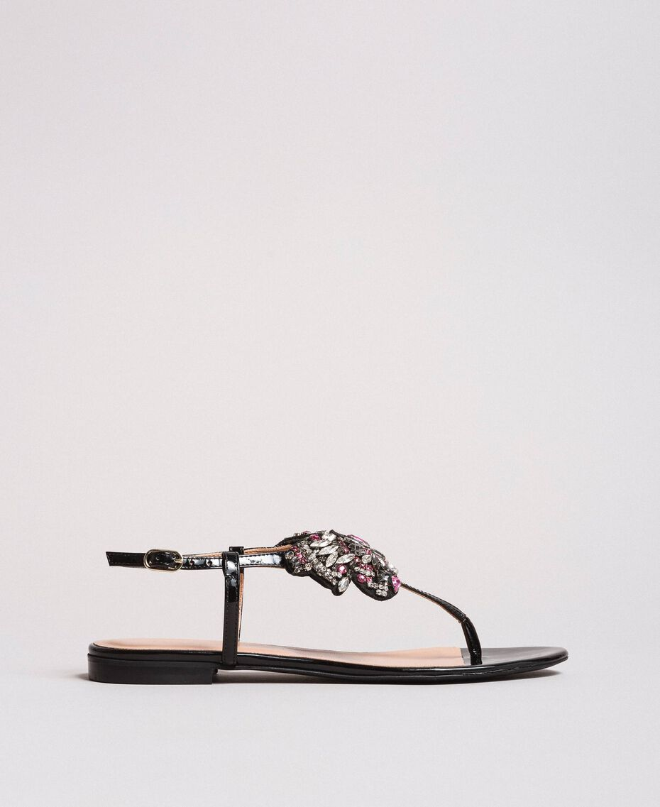 Leather sandals with jewelry butterfly Black Woman 191TCP106-02