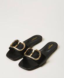 Sandales slide en cuir avec logo Noir Femme 211TCT014-01