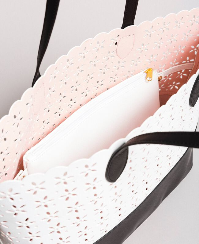 Cabas en similicuir avec motif floral Bicolore Blanc Neige/ Noir Femme 191TA7160-04