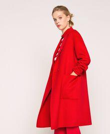 Manteau en drap double Rouge «Lave» Femme 201TP242A-04