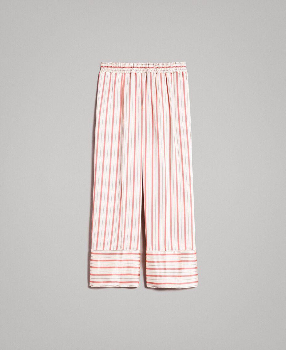 Gestreifte Satin-Hose Streifen Pearl Pink Frau 191TP245B-0S