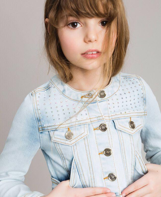 Denim jacket with rhinestones Bleach Denim Child 191GJ2471-04