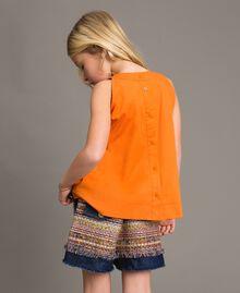 Shorts in denim con inserti Jacquard Bouclé / Denim Scuro Bambina 191GJ2021-03