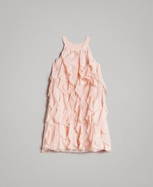 Georgette and organza ruched dress Blossom Pink Child 191GJ2QD1-01
