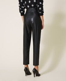 High waist faux leather trousers Black Woman 202TP2061-04