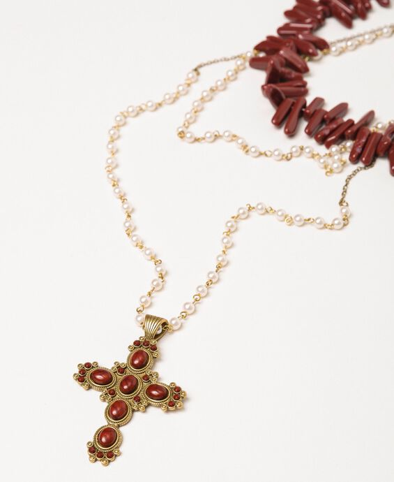 Choker-style multi-strand pearl necklace