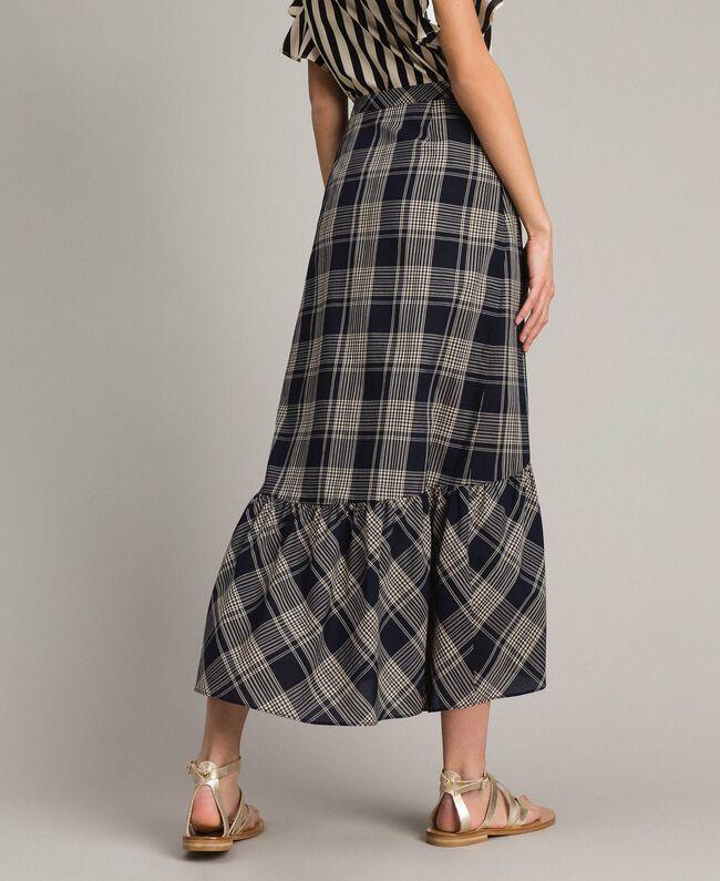 Long check cotton skirt Blue Shadow Check Jacquard Woman 191ST2133-03