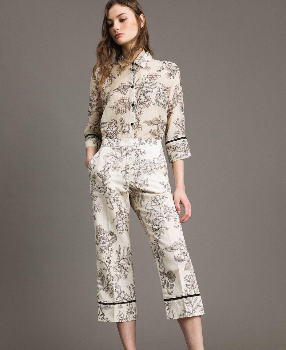 Floral print linen trousers Toile De Jouy Black Print Woman 191TT2461-02