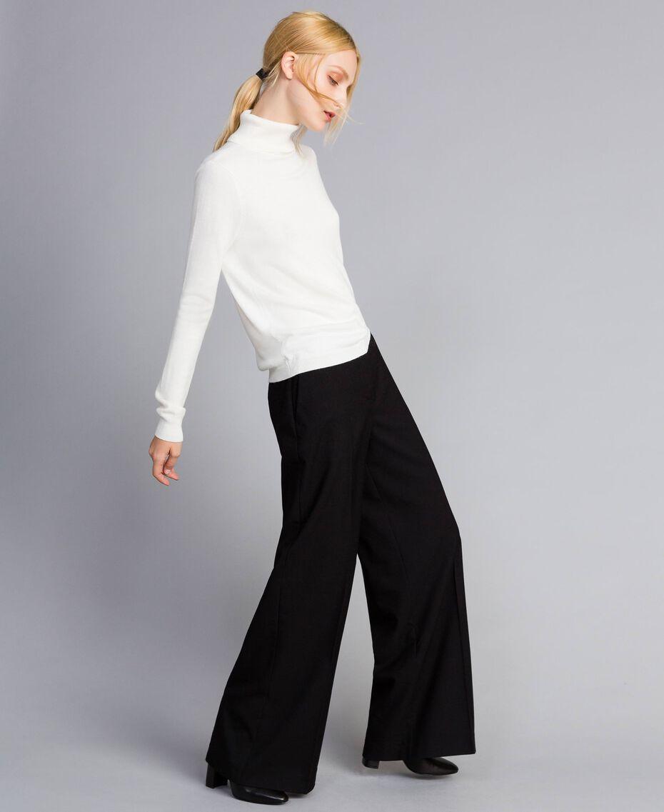 Twill palazzo trousers Black Woman SA82KE-02