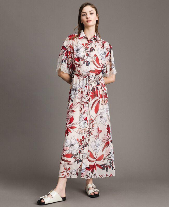 Robe longue en georgette à imprimé floral Imprimé Exotique Écru Femme 191ST2224-01
