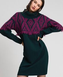 Jacquard knit dress with ethnic motif Ethnic Dark Green / Beet Red Jacquard Woman 192TP3041-01