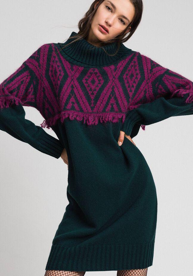Robe en maille jacquard avec motif ethnique