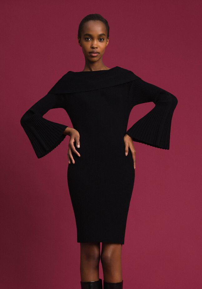 Jacquard inlay sheath dress