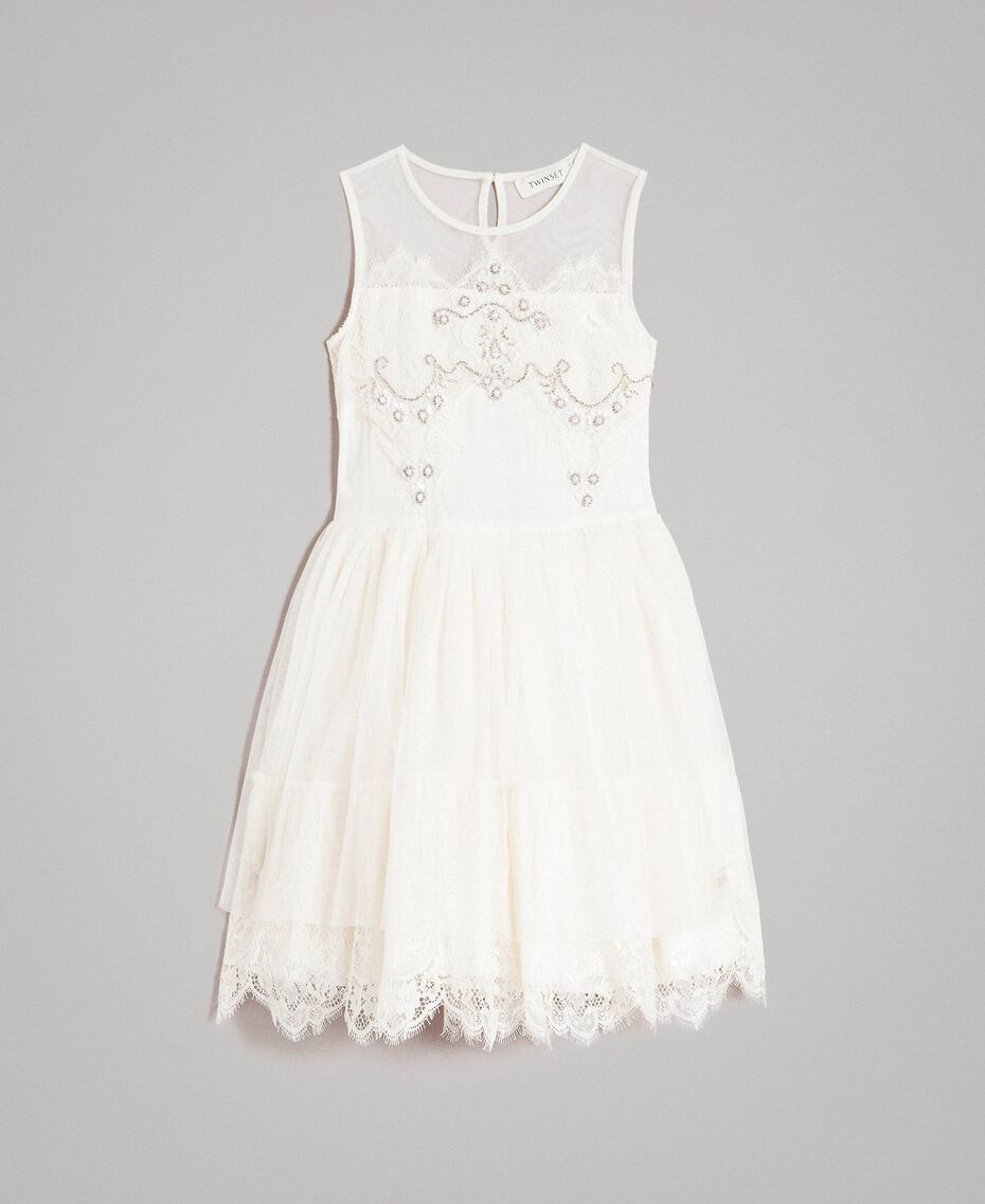 Embroidered tulle and lace dress Pale Cream Child 191GJ2QC0-01