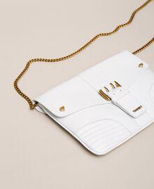 """Croc print leather Rebel pochette """"Snow"""" White Crocodile Print Woman 201TA7112-03"""