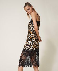 Printed satin slip dress with lace Animal Print Woman 202LL2EJJ-01