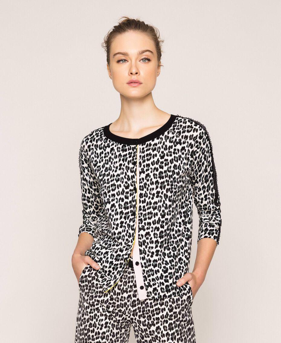 Animal print jumper-cardigan Lily Animal Print / Black Woman 201MP306A-02