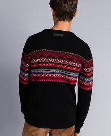 Pull en laine mélangée jacquard multicolore Jacquard Noir / Noir Homme UA83HP-03