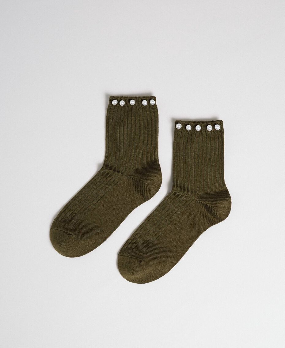 "Short socks with pearls ""Military"" Green with Gold Sequins Woman 192TA432B-01"