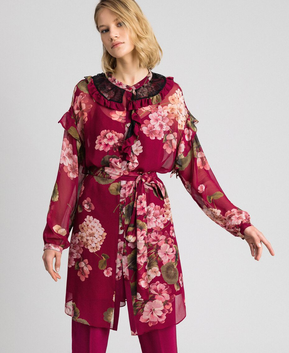Floral print creponne shirt dress Beet Red Geranium Print Woman 192TP2728-02