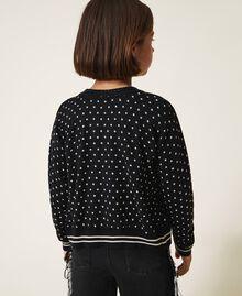 "Printed jumper-cardigan with rhinestones Black / ""Snow"" White Star Print Child 202GJ3640-03"