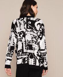 Cardigan imprimé avec sequins Imprimé Liberty Blanc / Noir Femme 201ST3162-03