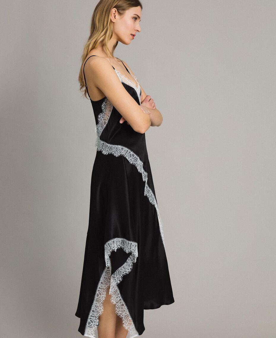 "Silk blend long dress with lace Bicolour Black / ""Snow"" White Woman 191TT2091-02"