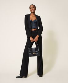 Trousers with crêpe de Chine finishes Black Woman 202MP2292-0T