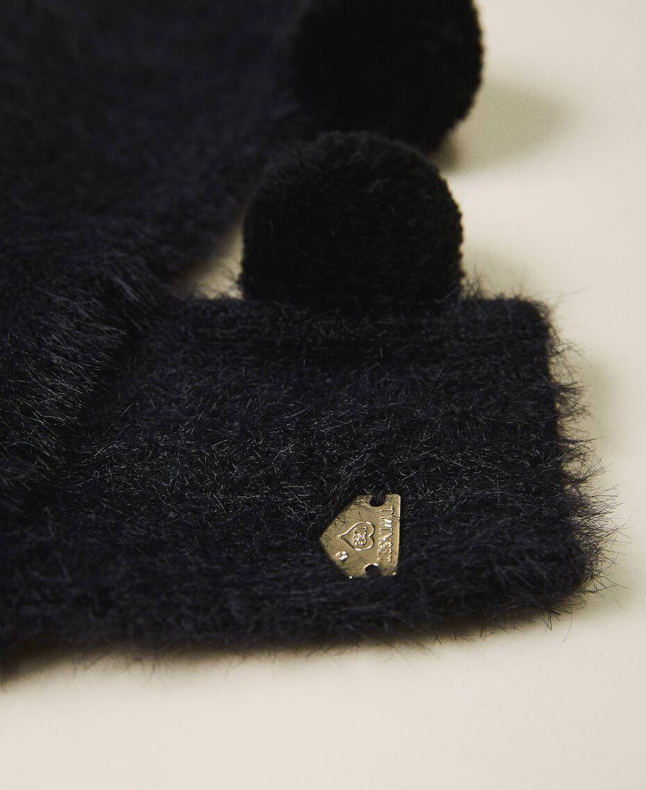 Mottled knit gloves Black Woman 202LI4ZTT-02