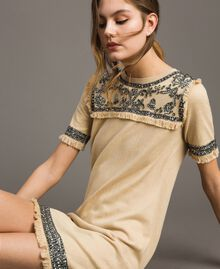 "Embroidered linen blend dress with fringed trim ""Marzipan"" Beige Woman 191TT3050-02"