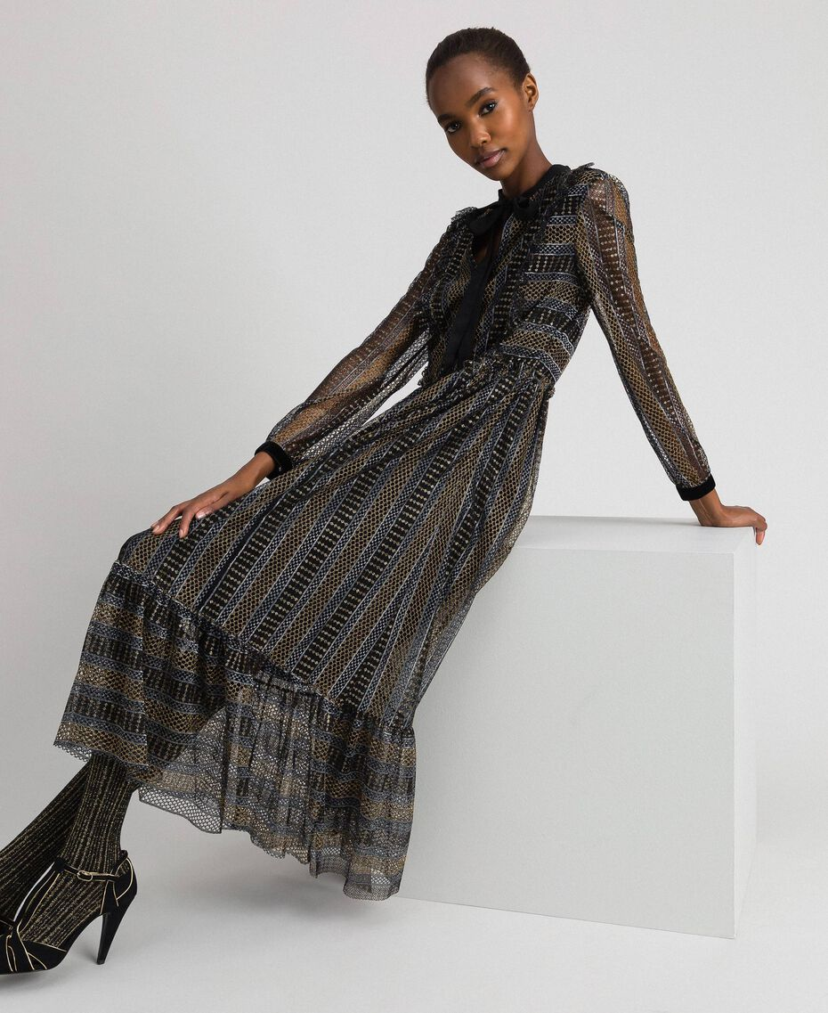 Lurex lace long dress Black Woman 192TT2360-05