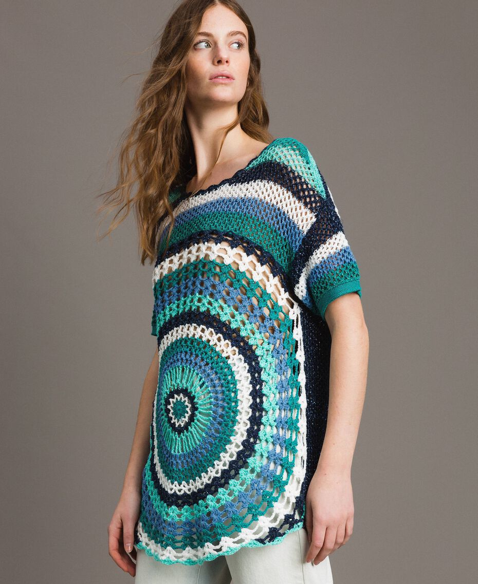 Maxi pull en crochet avec lurex Multicolore Crochet Bleu Nuit Femme 191MT3050-02