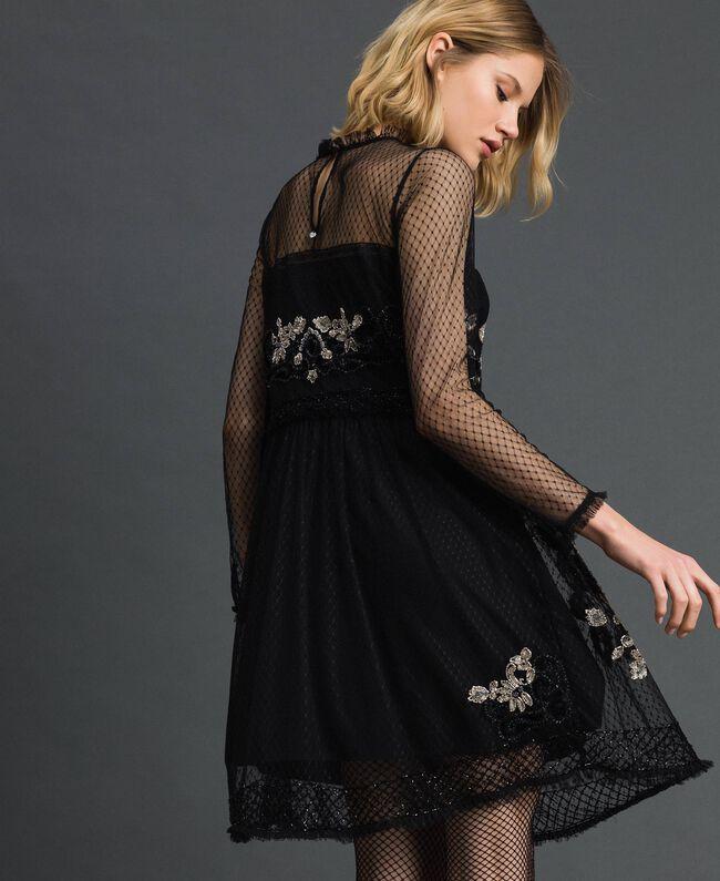 Robe en tulle plumetis avec broderie florale Noir Femme 192TT2041-03