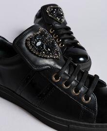 Baskets en cuir avec patch cœur Noir Femme CA8PB1-04