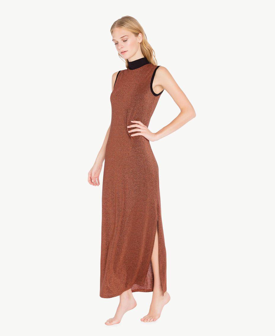 Kleid aus Lurex Kupfer / Schwarz IA7WCC-03