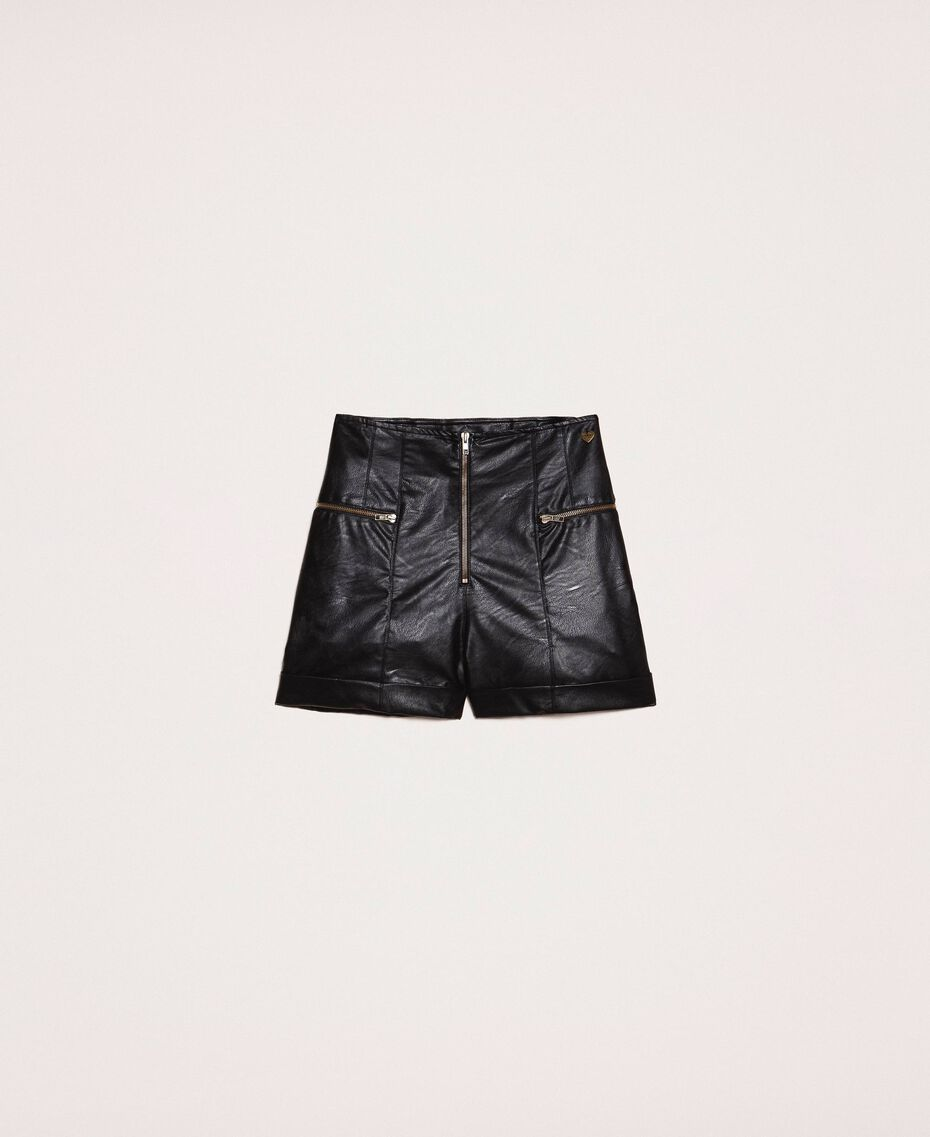 Faux leather shorts with zip Black Woman 201TP241B-0S