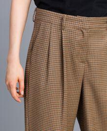 """Pantaloni palazzo in misto lana Jacquard Quadretti Arancione """"Bruciato"""" Donna TA821S-04"""