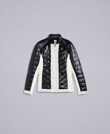 Two-tone quilted nylon padded jacket Bicolour Black / Blanc Woman IA85JJ-0S