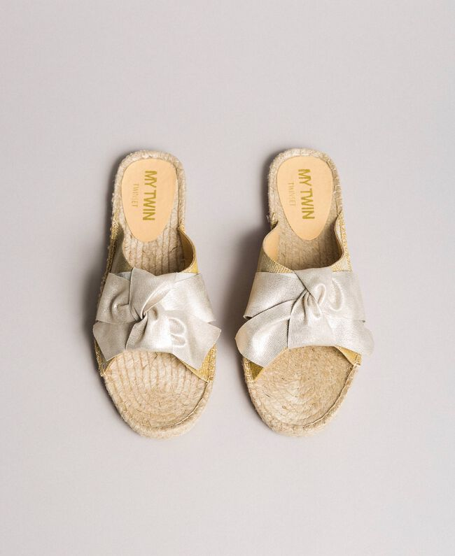 Criss-crossed slippers with bow Gold Yellow Woman 191MCP150-03