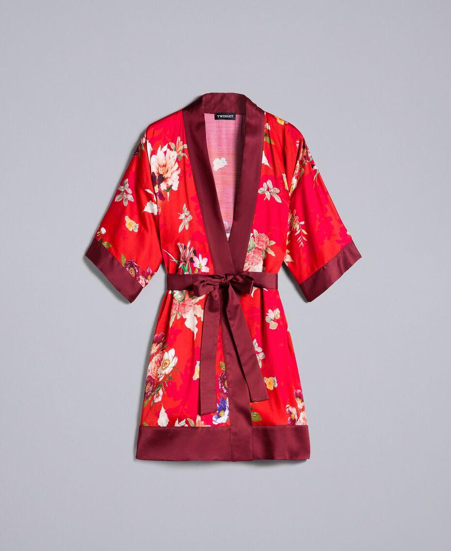 """Langer Kimono aus geblümtem Satin Print """"Red Garden"""" Frau PA829N-0S"""